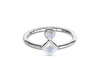 Klimt Ring   Sterling Silver Double Rainbow Moonstone Ring