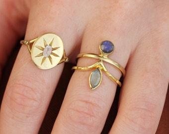 Anja Ring | 18K Gold Vermeil Labradorite Stacking Ring
