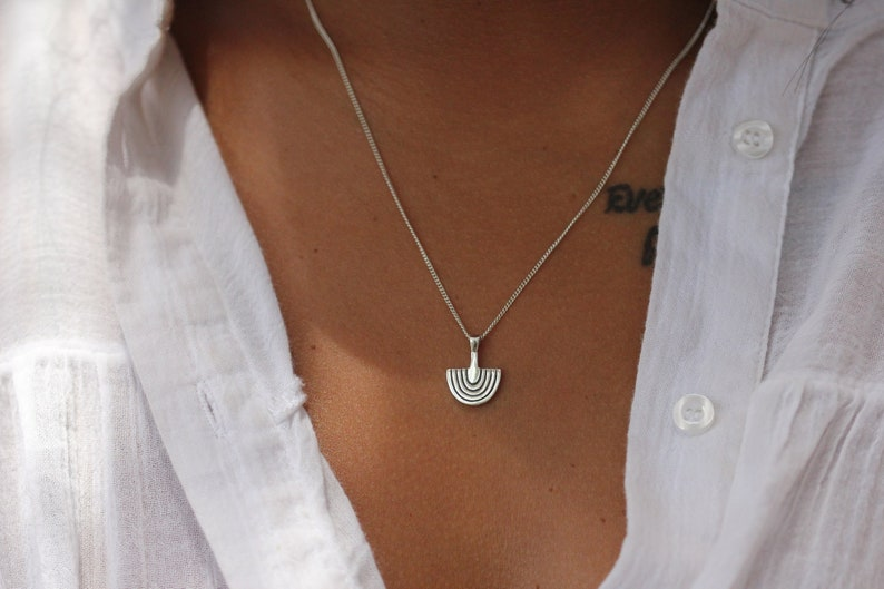 Sterling Silver Layering Necklace Sacred Arc Necklace