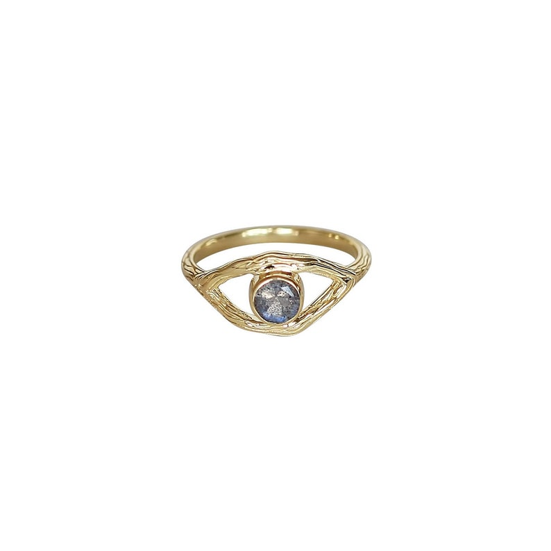 Oracle Ring 18K Gold Vermeil Statement Ring with Round Labradorite