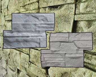 Set 4 Silicone molds stone Form Gypsum Plaster Set of 17 bricks STAMP facing