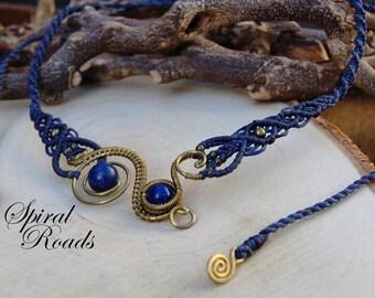 Lapis Lazuli wire wrap and macrame necklace / blue choker bib necklace for women /