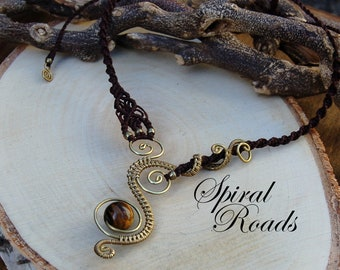 Women's wire and macrame necklace with Tigereye - Climbing Spirals - Brown