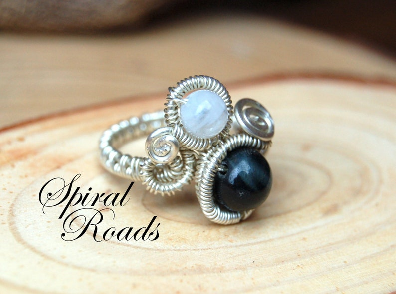 Silver Moonstone Ring  Statement Rings For Women  Wire Wrapped Gemstone Jewelry  Blue Tiger Eye crrystal Ring Hand Made Boho Jewellery
