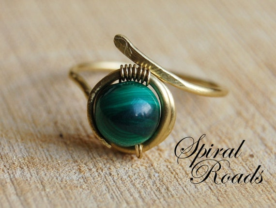 Malachite Wire Wrapped Ring for Women