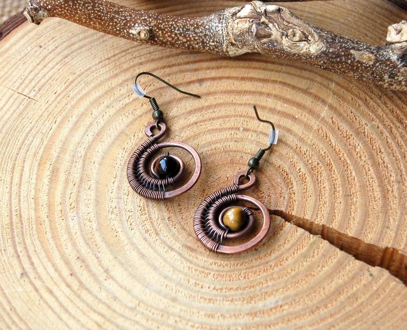 Boho Statement Earrings Crystal Dangle Earrings Wire Wrapped Tiger Eye Jewelry For Women Copper Gemstone Earrings Ammonite Earrings