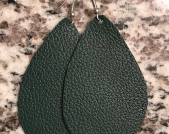 Leather Earrings, Emerald Tear Drop