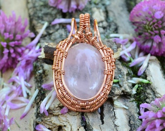 Rose Quartz Copper Wire Wrapped Pendant crystal healing