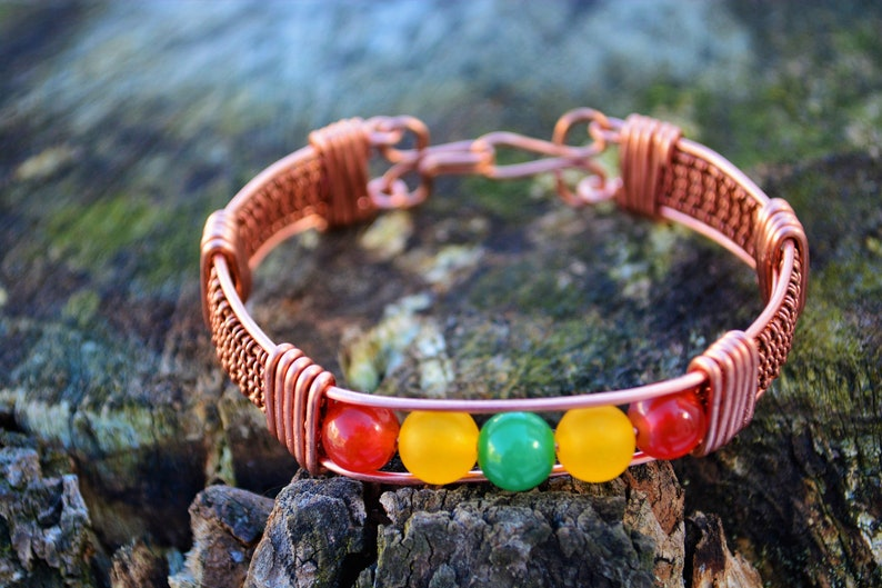 Yellow Jade Green Agate Copper Wire Wrapped Bracelet Set Handmade Crystal Healing Red Agate
