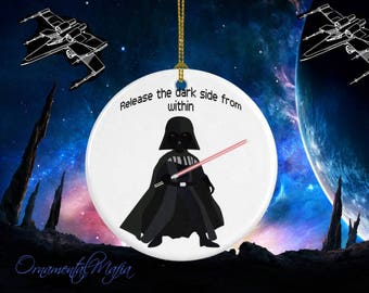 STAR WARS Pendant - Darth Vader Medallion - Porcelain Ornament - Great Gift - Personalization Available - Gifts For Kids - Ships Same Day