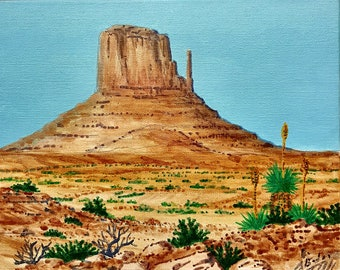 Tabletop Mesa 6x6 inches Navajo Nation Framed 6X6 inch Original Painting Titled Monument Valley me Art by Hawk By Hawk from Santa M