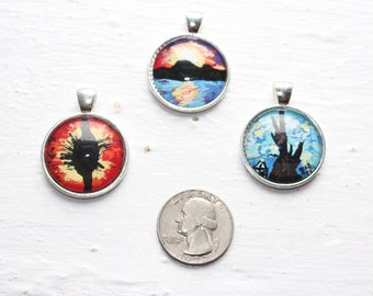 hand painted necklace pendant art