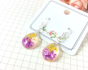 Real dried flower resin earrings, Teardrop Earrings