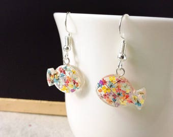 Real dried flower resin earrings, fish shaped earrings