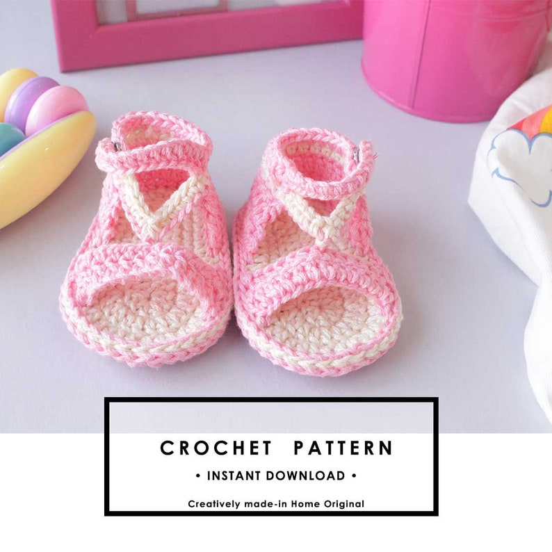 Easy Crochet booties Pattern summer sandals baby shoes PDF image 0