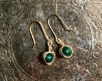 Handmade Brass Wire Wrapped Dangle Earrings with Malachite