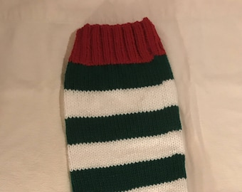 Customized Christmas Stocking - Green and White with Red trim