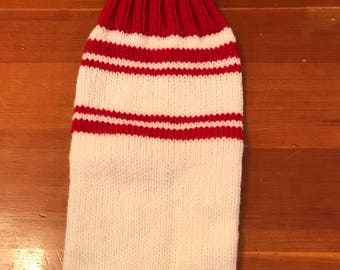Customized Christmas Stocking - White with Red trim