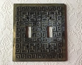 Vintage double light switch toggle plate