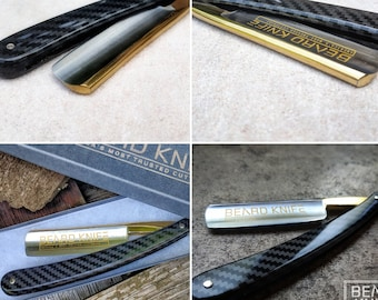 Beard Knife Straight Razor 13/16   Round Point Carbon Fiber abs  scales Shave Ready