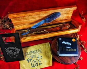 Rosewood shavette carved wood case 100 blades set Valentine's day gift for him