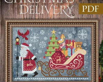 Christmas Delivery Cross Stitch Pattern, Christmas Santa Cross Stitch, PDF Pattern, Cottage Garden Samplings