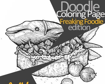Whale + Bruschetta ; Doodle Coloring Page