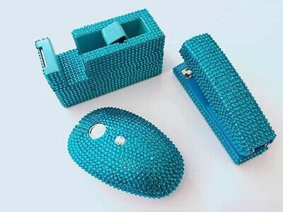 tape dispenser IN WHITE//SILVER Set of 2 blingustyle New Sparkle Crystal Stapler