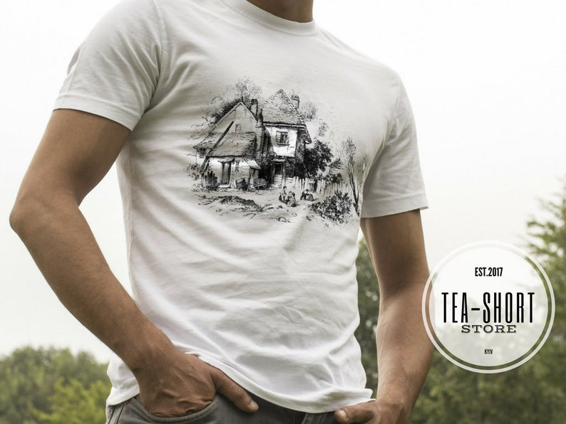 625c632062463 Men t shirt Country house Original design tees Abandoned house T-shirts  graphic art Gift for dad Vintage drawing Old house Organic cotton