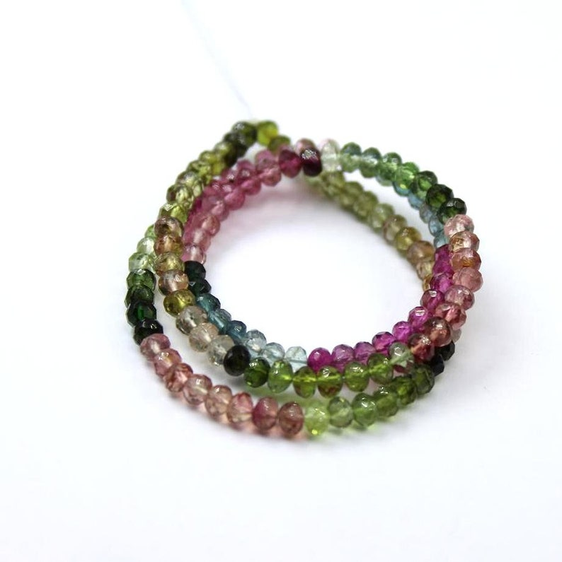 shaded tourmaline faceted beads Genuine Tourmaline faceted rondelle 4 MM beads 13 strand multi color tourmaline rondelle: ZB15