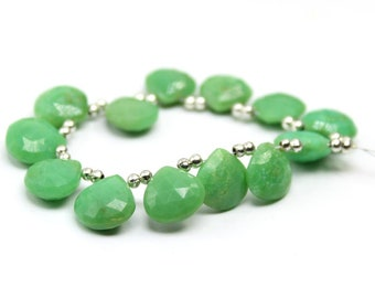 Chrysoprase Faceted heart briolette 11x11-10.5x10.5 mm | Green chrysoprase faceted heart briolette | chrysoprase | sold set of 6 brio:- M518