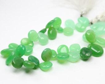 Chrysoprase smooth pear briolette 19x12-11x9 mm 8 inch strand | Green chrysoprase smooth heart briolette strand | chrysoprase pear
