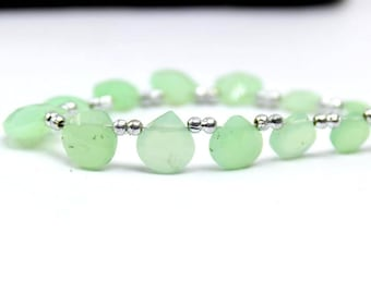 Chrysoprase | Ombre Shaded Faceted heart briolette | mint color chrysoprase faceted heart briolette | chrysoprase | sold set of 6 brio:- 210