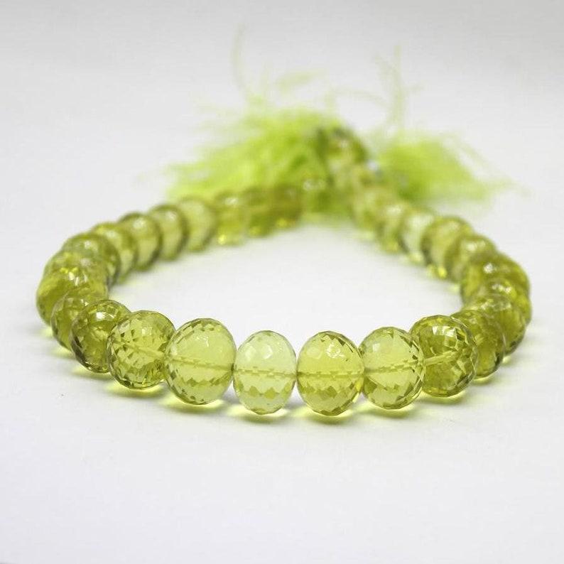 Sold in set of 15 rondelle Lemon quartz faceted oval beads Faceted Twist Twisted Rondelles 12-9 mm Sparkling Lemon Quartz