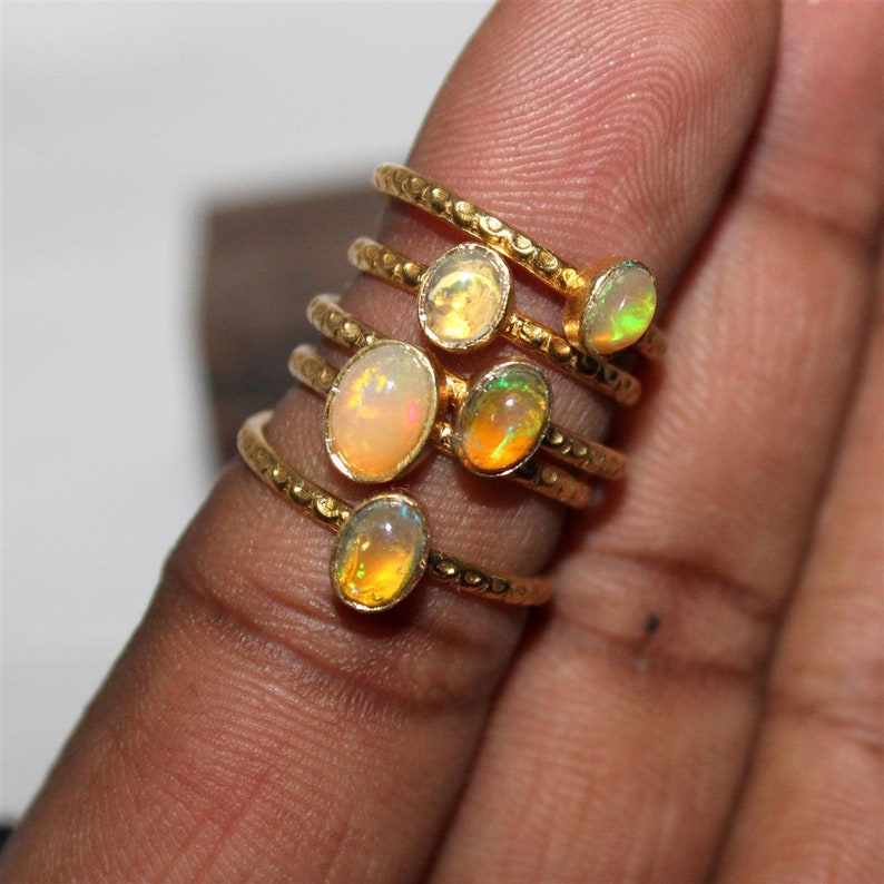 Adjustable ring:- 3 rainbow fire Opal Inspirational Opal Jewelry Ethiopian Opal ring oval ring,Wedding Ring Boho Opal Gold plated Ring