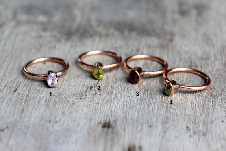 gift for her natural tourmaline stackable ring faceted tourmaline oval copper ring size 5.5 US,copper ring Tourmaline pure copper ring