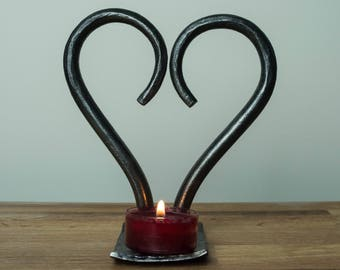 Heart Tealight Candle Holder - Hand Forged
