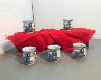 Unique Japanese sake cups vintage 1960s Japanese marble sake | Etsy