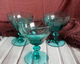 Set of Three Turquoise Sherry Glasses, Wine Glasses.