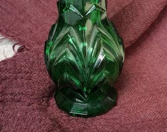 Green Glass Vase. Bud Vase