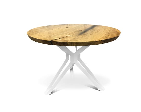 Round dining table Solid oak top Industrial table Oak table Kitchen table  Solid wood Metal base table Natural look Design table Big table