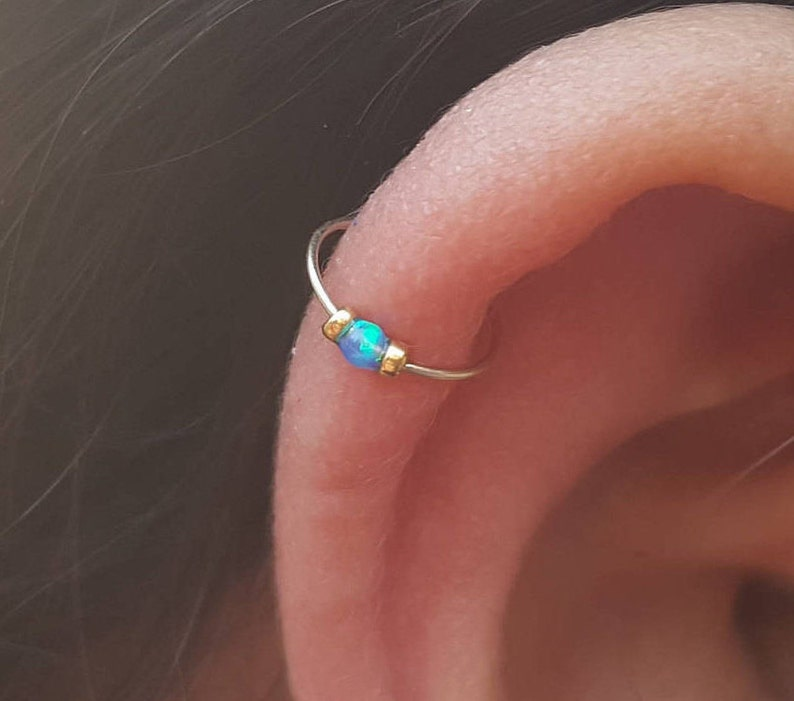 Thin Cartilage  Earring-gold  cartilage earring-2MM TINY opal cartilage earring-cartilage  earring hoop-cartilage earring 24G