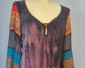 Women's hippie boho upcycled refashioned shirt top tunic size large to XL