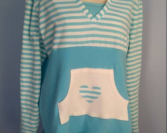 hooded upcycled, refashioned, 2X sweatshirt tunic.  Aqua, front pocket with heart.