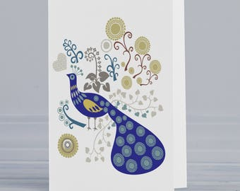 peacock card etsy