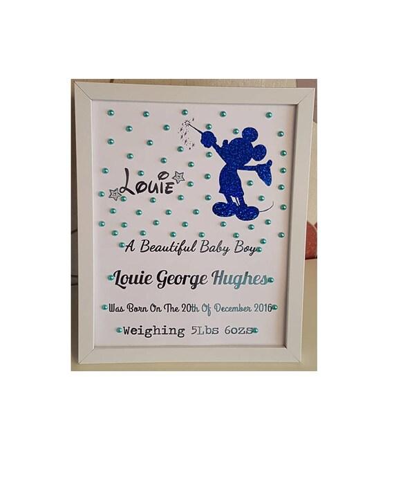 Personalised Baby Birth Detail Framed Print Christening//Birthday Keepsake Gift