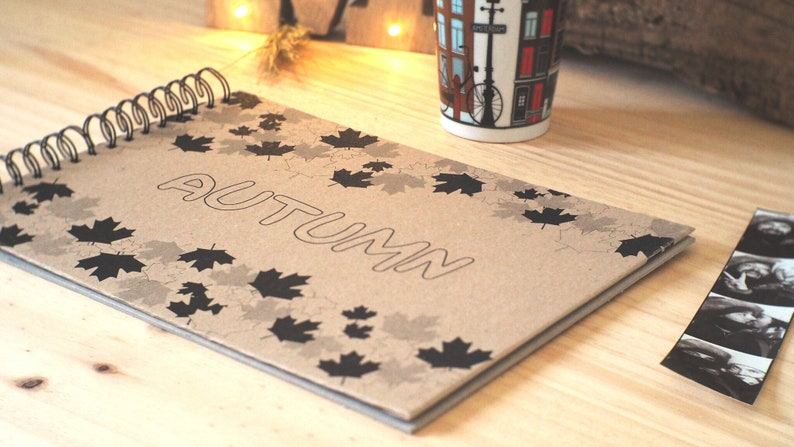 photo album gift for travellers Personalized photo album autumn design custom design travelling travel gift idea custom holiday