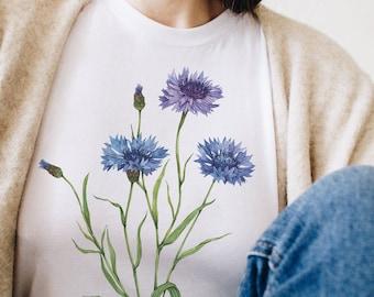 Cornflower Shirt - Floral Shirts - Wildflower Shirt - T shirts for Plant Lovers, Watercolor Shirt, Botanical Tee by Anna Farba