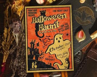 Vintage Halloween art print, haunted house, Halloween decorations, home decor, Halloween costume art, spooky horror 5x7 A4 accessories, uk