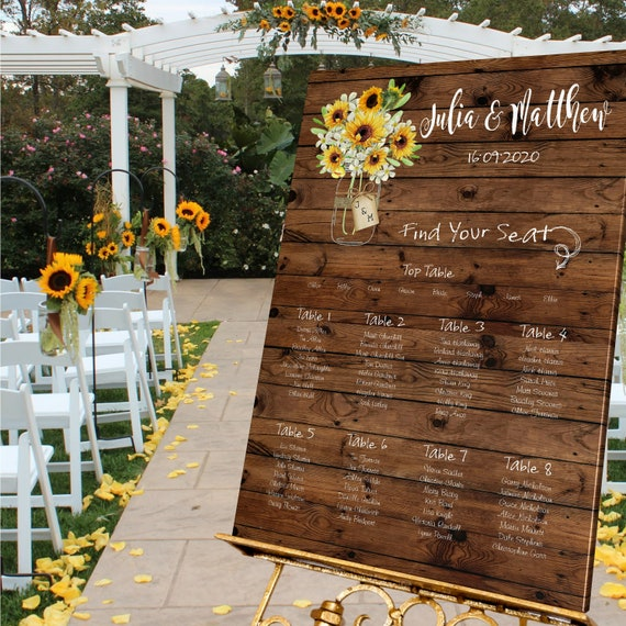Personalised Sunflower Country Wedding Table Seating Plan Large A1 A2 A3